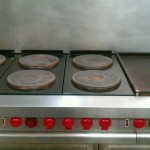Six Burner Stove and Flat Top Grill